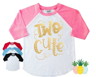 2nd Birthday Two Cute Shirt for Girls - Girls Second Birthday Shirt - Two Birthday Shirt - I'm Two  Cute - Two Year Old Shirt - Two Party