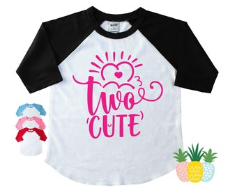 2nd Birthday Shirt for Girls - Two Cute Girls Second Birthday Shirt - Two Birthday Shirt - I'm Two  Cute - Two Year Old Shirt - Two Party