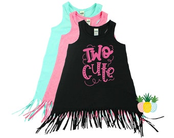 Two Cute 2nd Birthday Outfit for Girls - Second Birthday Fringe Dress - Two Year Old Swimsuit Coverup - Toddler Fringe Dress
