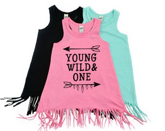 Young Wild and One - Fringe Dress - Girl First Birthday - Swimsuit Coverup - Baby Fringe Dress - Toddler Fringe Dress - 1st Birthday Outfit