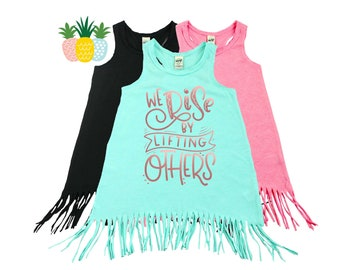 Girl Empowerment - Swimsuit Coverup - Beach Dress - Beach Cover Up - Summer Vacation Top - Girl Power Top - We Rise By Lifting Others