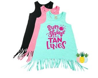 Girl's Summer Fringe Dress - Swimsuit Coverup - Beach Dress Cover Up - Baby Toddler Fringe Dress - Sunshine and Tan Lines Tank Dress