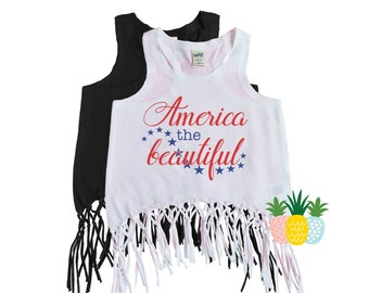 American the Beautiful Girl's 4th of July Top - July 4th Fringe Tank - Patriotic Fringe Tank - 'Merica Shirt - Independence Day Girl's Tank