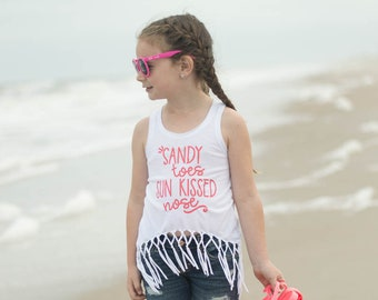 Beach Fringe Cropped Top - Beach Vacation Tank Top - Summer Tank Top for Girls - Girl's Beach Outfit - Summer Vibes Tank - Sandy  Toes Top