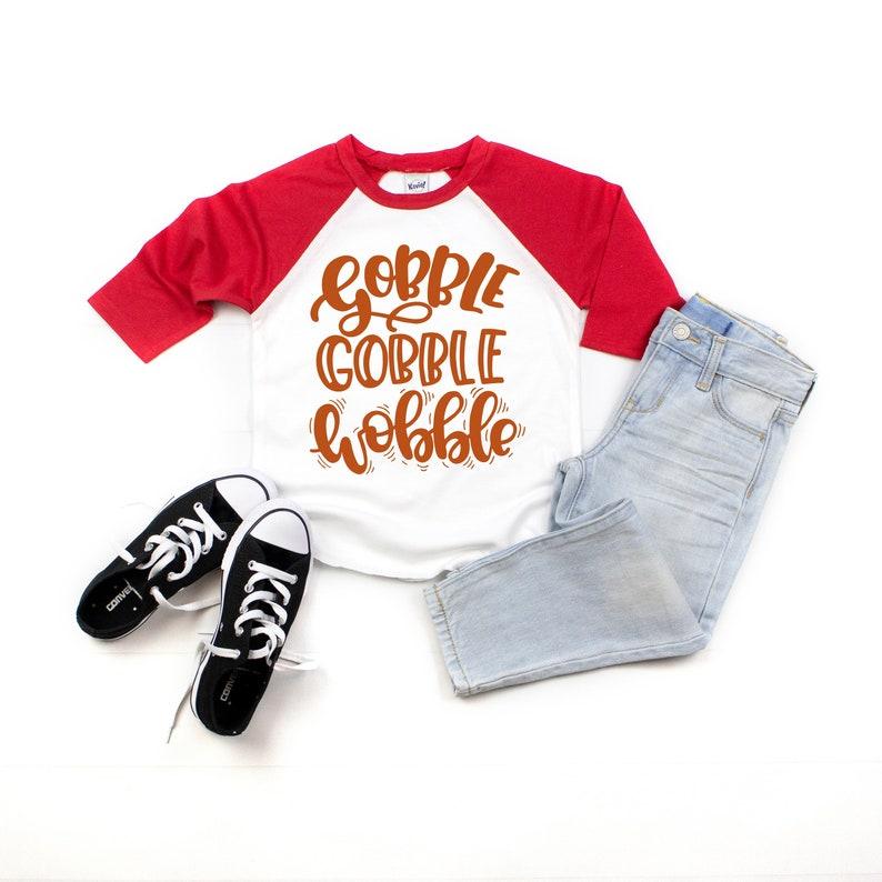 fccd3308e6 Gobble Gobble Wobble Thanksgiving Shirt for Kids Turkey | Etsy