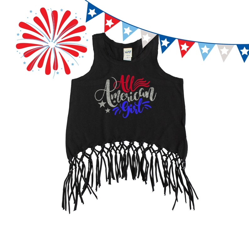 d36d35651 Patriotic Fringe Tank Girl's 4th of July Outfit All | Etsy