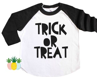 Kid's Trick of Treat Shirt - Kid's Halloween Shirt - Girl's Halloween Tee - Boy's Halloween Shirt - Halloween Raglan Tee - Halloween Outfit