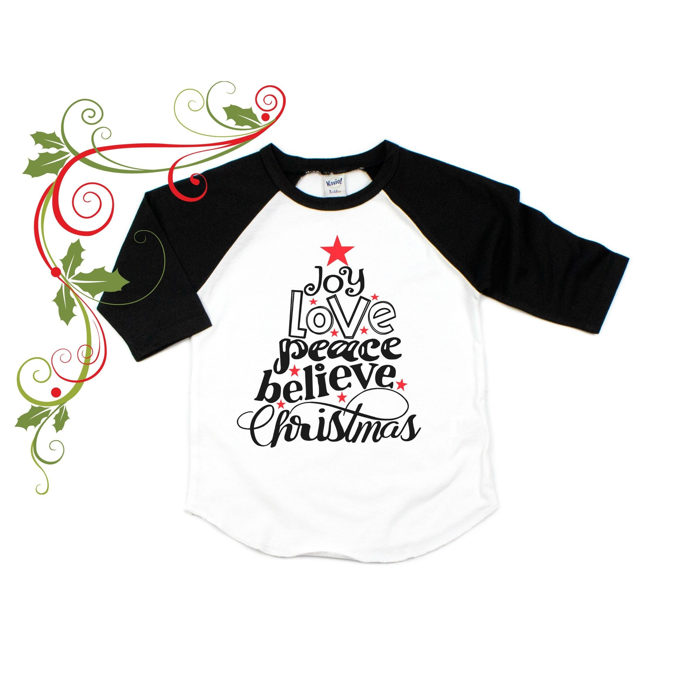 c419d87d9780 Joy Love Peace and Believe Christmas Shirt For Kids | Etsy