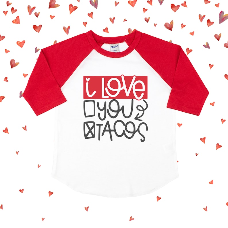 d14be667 I Love Tacos Valentine's Day Shirt For Kids Taco Shirt   Etsy