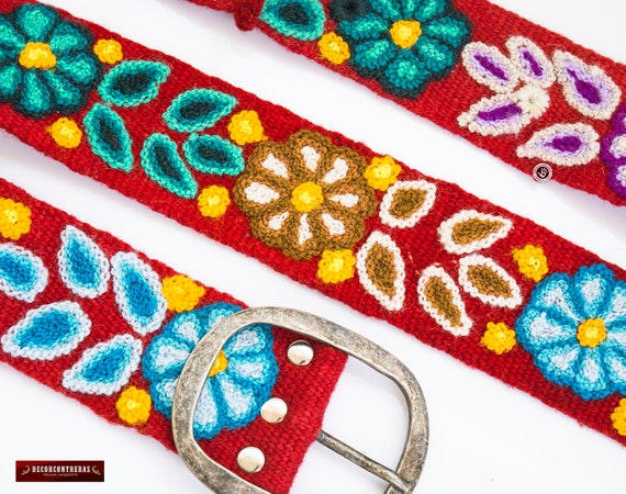 Womens Red belts S,M,L,XL Peruvian embroidered belt
