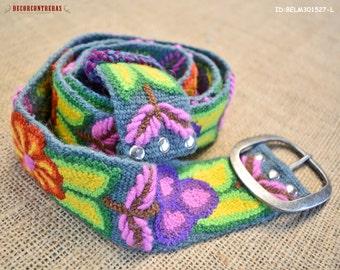 "womens belts Size Large ""Andean Festival"" - gift for women - embroidered belt Wool flowers - Waist belt - Peru handmade belts"