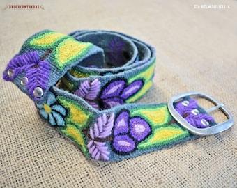 "Embroidery Belts Size Large ""Midnight Bouquet"" - Wool Wide Belt - Floral belt for women - Waist belt - Gifts For Women - Peru handmade belts"