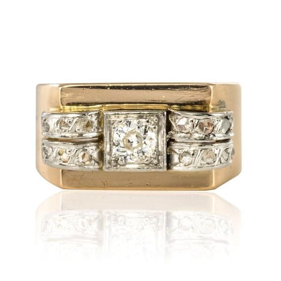 Tank Tank Vintage 18K Yellow Gold Diamond ring