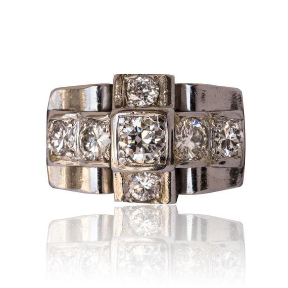 Art deco ring Platinum Diamond Platinum Art deco