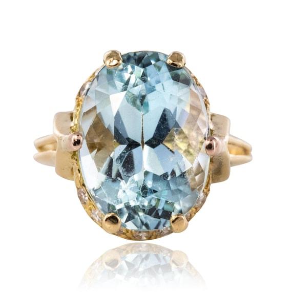Vintage ring aquamarine aquamarine diamonds