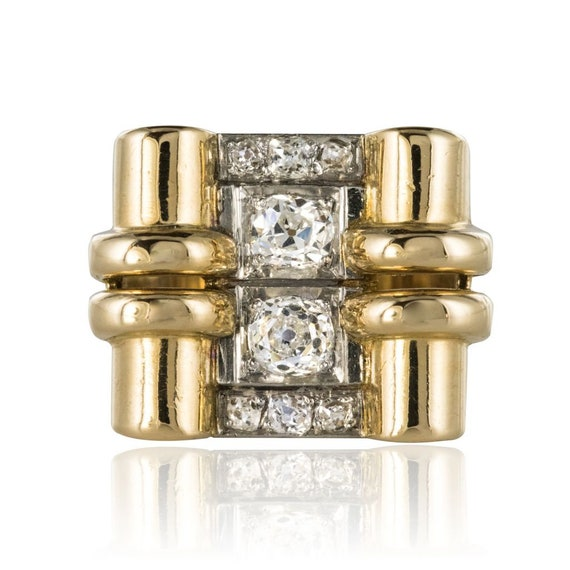 Diamond tank ring with 18K Gold Yellow Gold Vintag
