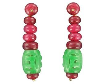 Boucles d'oreilles Jade Rubis Or jaune 18K Art déco