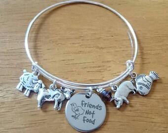 Friends not food bangle bracelet /necklace/key ring
