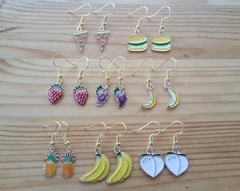 Fruit, burgers and pizza gold plated earrings