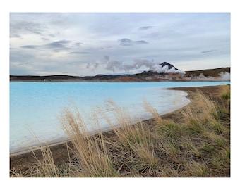 Landscape / Photography / Volcano / Beautiful / Iceland / Print / Wall art / Scenic / Present Gift / Pretty / Gift Idea / art / Blue / mist