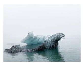 Minimalist iceberg in Iceland, a minimal scandi print, skandi image. Icelandic photography by a welsh artist. Wall art gift idea present