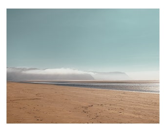 Minimal scenes on the beach, a little like a Dali landscape but less surreal. Low hanging clouds over Snowdonia though, on a autumn day.