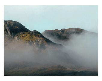 Mountain landscape above the clouds in Snowdonia
