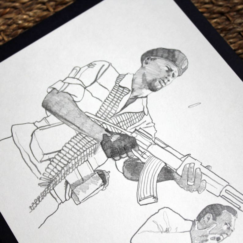 Dessin original crayon sc\u00e8ne de cin\u00e9ma film Lord of War illustration Andr\u00e9 Baptiste Jr Yuri Orlov