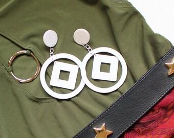 Vintage 1980's Geometric Resin Look White Drop Earrings