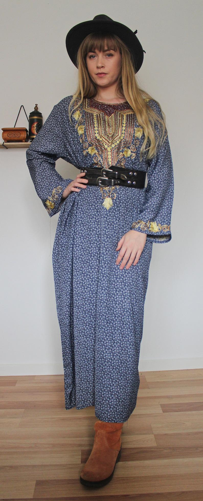 Vintage VTG Golden Embroidered Blue Floral Ethnic Maxi Length Muu Muu Style Dress