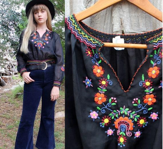 Vintage VTG Sheer Polyester Peasant Floral Embroid
