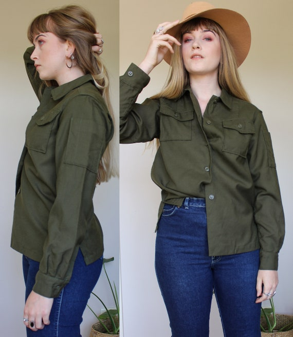 Vintage VTG Army Military Khaki Wool Button Down S