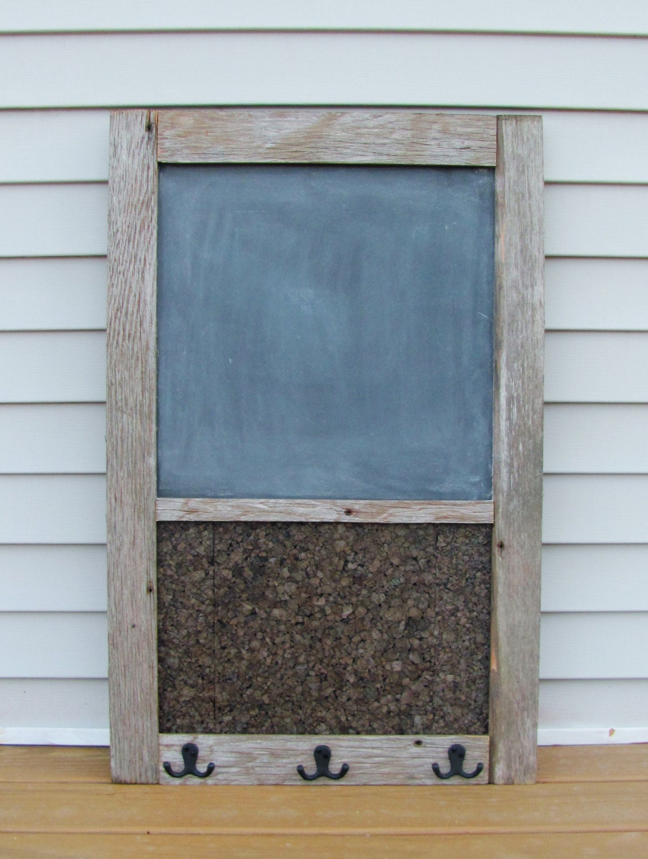 Rustic Barnwood Chalkboard with Corkboard and Hooks Message