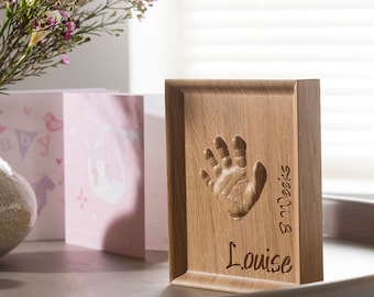 Solid oak baby handprint keepsake, Toddler handprint, Personalized baby present, Wooden baby gift, Gift for grandparent, Newborn baby print.