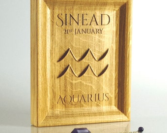 Solid Oak Aquarius Zodiac gift,Astrology gift, Horoscope present, January birthday ideas for him and her, Starsign Aquarius, wooden