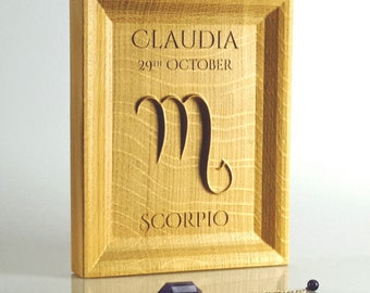 Solid Oak Scorpio Zodiac gift, Astrology present, November birthday ideas, Scorpio decor, Personalised wooden gift, Horoscope starsign.