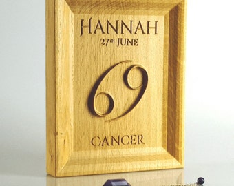 Solid Oak Cancer Zodiac gift, Cancer sign, Horoscope present, Personalised wooden gift, July birthday ideas,Astrology gifts, Zodiac Art