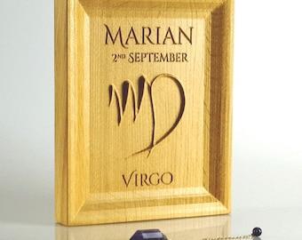 Solid oak Virgo Zodiac gift, Astrology present, September birthday gift idea, Zodiac Wall art, September birthday, Virgo decor, Horoscope