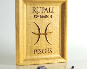 Solid Oak Pisces Zodiac Gift, Horoscope present, Astrology decor, Birthday gift for March birthday, Zodiac Wall Art, Unique gift for him,her