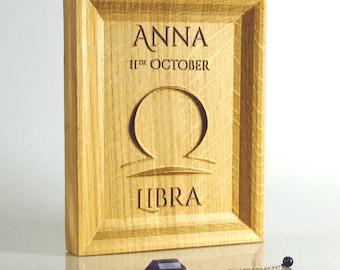 Solid Oak Libra zodiac gift, Zodiac birthday present, October Birthday ideas, Starsign gift, Personalised Zodiac present, Astrological sign.
