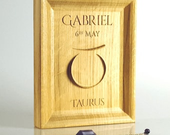 Solid oak Taurus Zodiac gift, Astrology present for May birthday, Zodiac print, Zodiac Wall Art, Starsign decor, Horoscope gift ideas