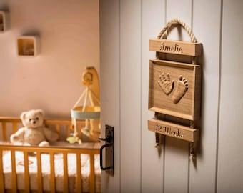 Solid oak baby handprint footprint gift, Baby girl and baby boy keepsake, Nursery decor, newborn present, footprint kit, grandparent gift
