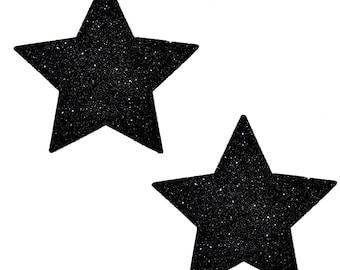 Black Malice Glitter Starry Night Star Pasties Nipple Cover