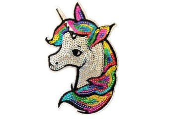 FabStix Sequin Rainbow Unicorn Iron-On Patch Collectible Sticker