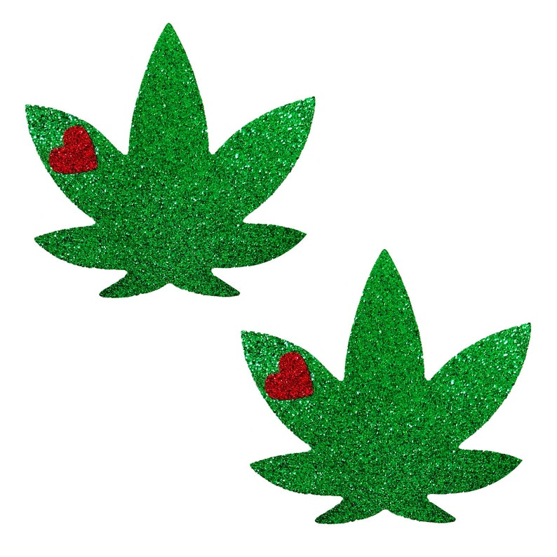 Neva Nude Glorious Green Glitter DOPE AF Weed Leaf Nipztix