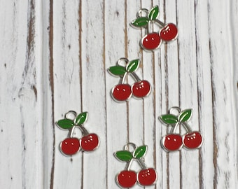 Cherry Charm, Alloy Enamel Pendant, Jewellery Supplies, DIY, Overstock, Charms, Lead Free and Cadmium Free - 5 pcs