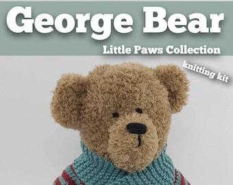 Knitting Kit George Bear. Teddy Bear knitting kit. Easy knitting kit. Easy Knit Pattern. Hand knitting. Bear knitting kit.