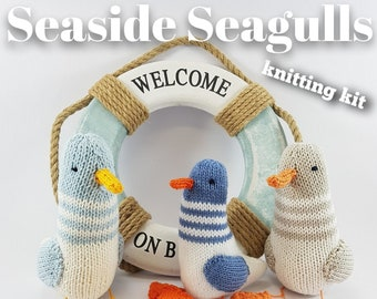 Knitting kit to make your very own Seaside Seagulls - easy to knit pattern