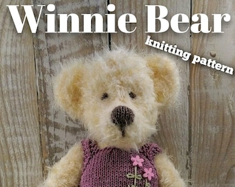 Knitted toy knitting pattern for Winnie Bear, PDF download