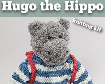 Hugo the Hippo Knitting Kit - Make Your Very Own Hippo - Easy To Knit Pattern